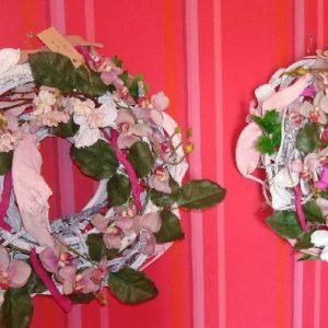Zijde krans roze