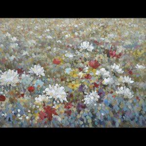 Canvas kleurrijk bloemenveld