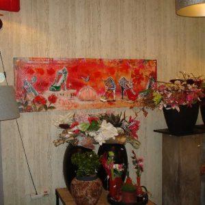 Beschoend schilderij rood