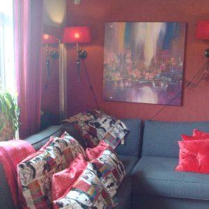 Verschillende kussens rood en geprinte tinten vanaf