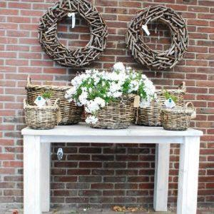 Steigerhouten tafel wit