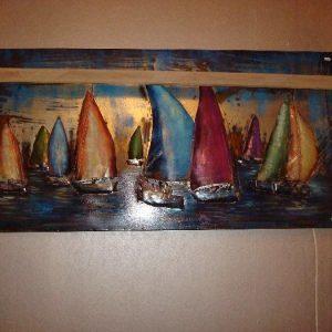 Metalen 3D boten blauwe ondertoon