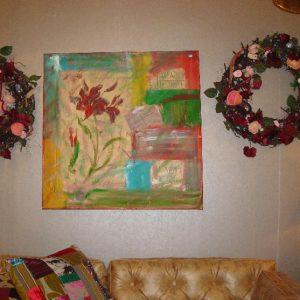 Abstract schilderij met een bloem