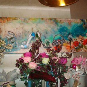 Beschoend schilderij blauw