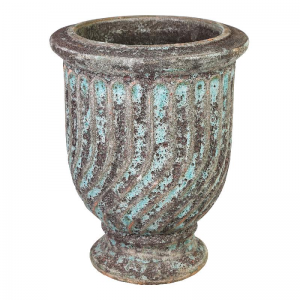PTMD-Pot en Mand, Giselle turquoise ceramic Waved pot with edges