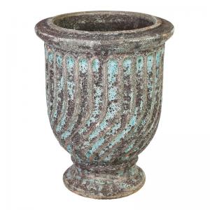 PTMD-Pot en Mand, Giselle turquoise ceramic Waved pot with edges